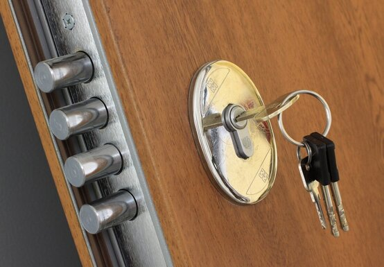 High security deadlock on door